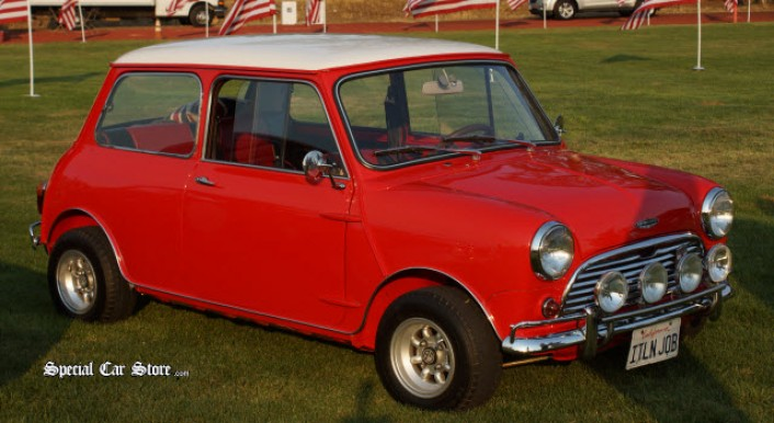 1965 Austin Mini Cooper used in the original Italian Job movie - Steve McQueen Car and Motorcycle Show 2013