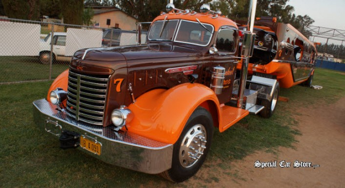 1947 Mechanical Handling Systems trailer transporter and 1949 GMC rig at Steve McQueen Car Show 2013