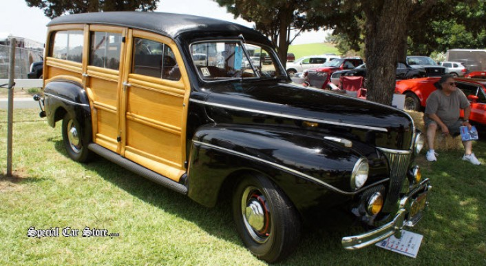 1941 Ford Super Deluxe Station Wagon at Steve McQueen Car and Motorcycle Show 2013