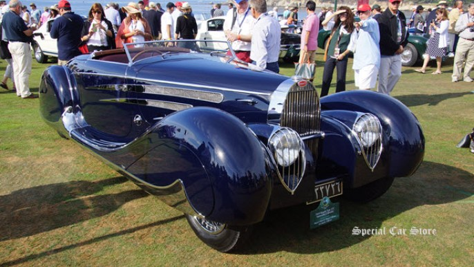 1939 Bugatti Type 57C Vanvooren Cabriolet owned by Margie & Robert E. Petersen Collection at the Pebble Beach Concours d'Elegance 2015