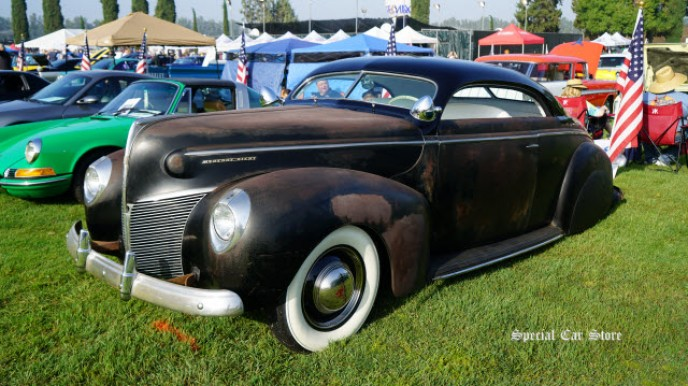 1939 Mercury Eight Coupe custom at Steve McQueen Car and Motorcycle Show 2017