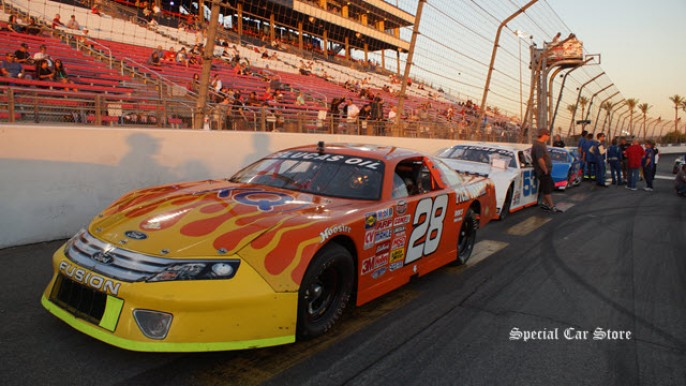 Lucas Oil Late Model Stock Car Jeff Williams No 28 at Irwindale Speedway 2013