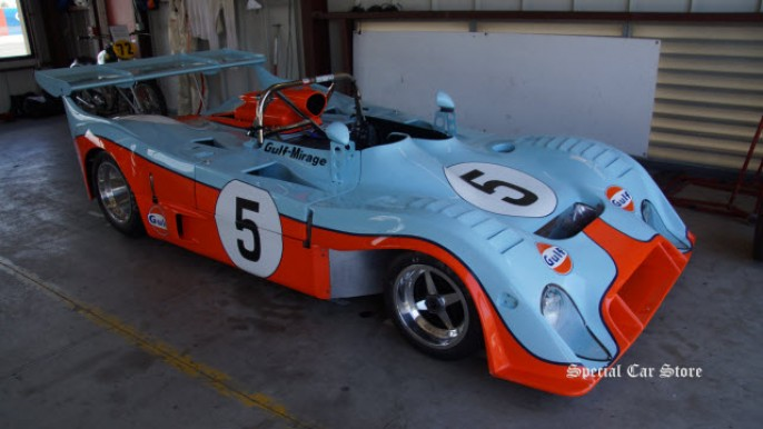 1973 Gulf Mirage M6 historic race car no 5 at Sonoma Raceway Historic Motorsports Festival 2015
