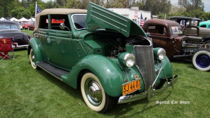 1936 Ford Convertible Sedan at Steve McQueen Car and Motorcycle Show 2015