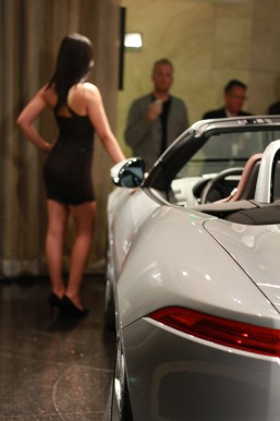 Model at the Unveiling of the 2014 Jaguar F-Type Convertible | Galpin Jaguar